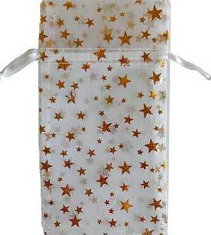"3"" x 4"" White Organza Pouch with Gold Stars"