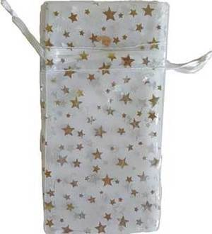 "3"" x 4"" White Organza Pouch with Silver Stars"