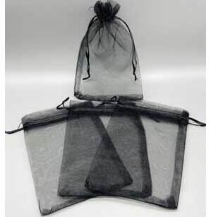 "100 pack 4"" x 6"" Black organza bag"