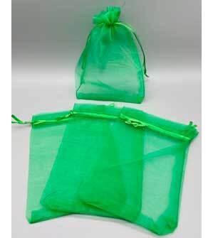"100 pack 4"" x 6"" Green organza bag"