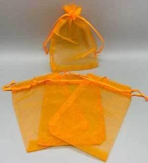 "100 pack 4"" x 6"" Orange organza bag"