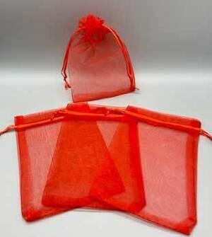 "100 pack 4"" x 6"" Red organza bag"
