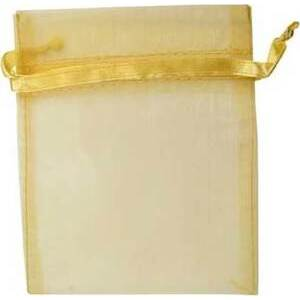 """12 pk 2 3/4"""" x 3"""" Gold organza pouch"""