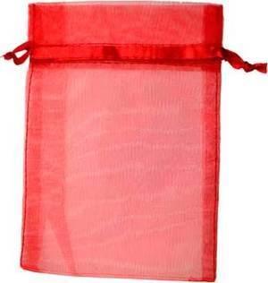 "12 pk 2 3/4"" x 3"" Red organza pouch"