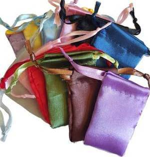 "12 Pk 1 3/4"" x 2"" Satin Pouches Mixed Colors"