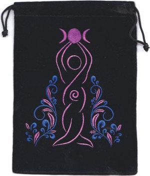 """5""""x 7"""" Goddess Black velveteen bag"""