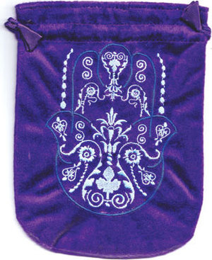 "6""x 8"" Fatima Hand Purple velveteen bag"