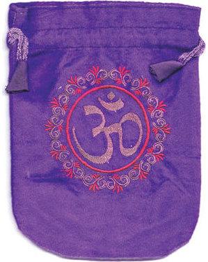 """6""""x 8"""" Om Purple velveteen bag"""