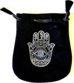 Hand of Compassion Velveteen Black Bag 5""