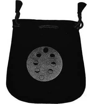 """Moon Phases Velveteen Black Bag 5"""""""