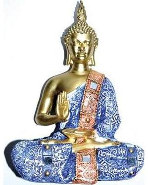"10 1/4"" Buddha blue clothing & Mirror ornaments"