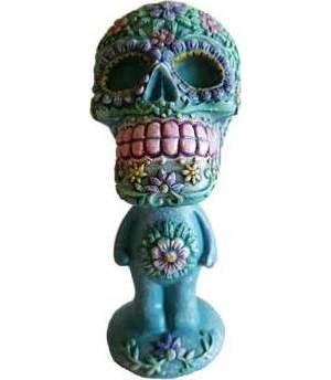 """5 3/4"""" Aqua/ Pink Skull Bobblehead"""