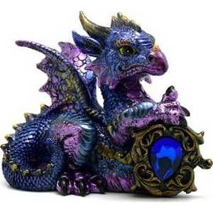 Blue Dragon Statue with Stone 4""