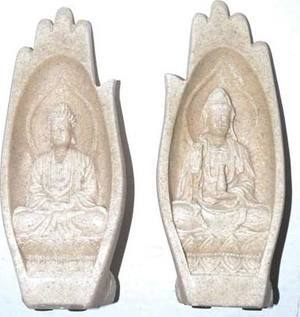 "5"" Serenity Hand (Buddha & Kwin Yin) sandstone & resin"