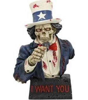 "7 1/2"" Skull Uncle Sam Statue"