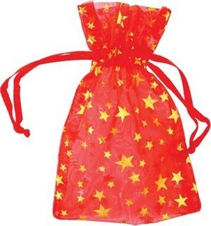 "2 3/4"" x 3"" Red Organza Bag with Gold Stars"