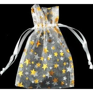 "2 3/4"" x 3"" White Organza Bag with Gold Stars"