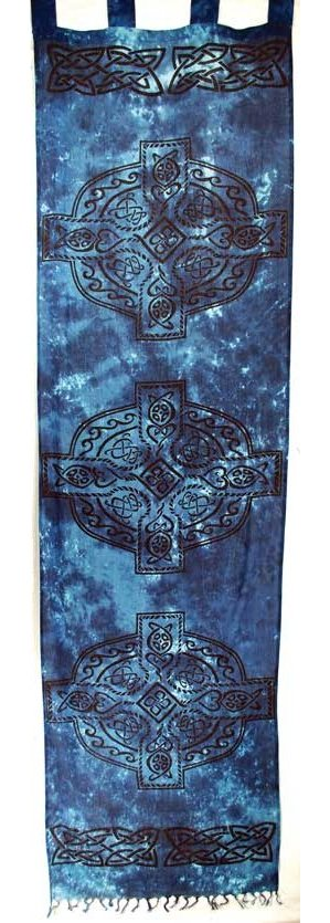 "Celtic Cross Curtains 22"" x 72"" blue & black pair"