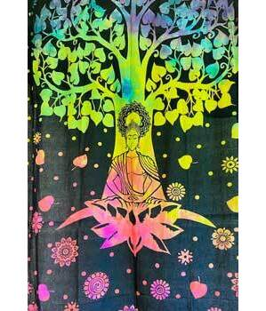 "72"" x 108"" Buddha Tree tapestry"