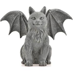 "Winged Cat Gargoyle 6 1/2"" Statue"