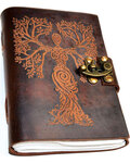 Tree Woman leather blank book w/ latch