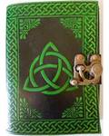Black & Green Leather Blank Journal (Triquetra)