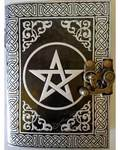 Black & Silver Leather Blank Journal (Pentagram)