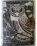 Black & Silver Leather Blank Journal (Owl)