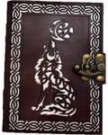 Celtic Wolf (die cut) leather blank book w/ latch
