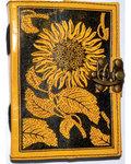 Sunflower leather blank book w/ latch