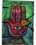 "Hamsa journal 4 1/2"" x 6 1/2"" handmade parchment"