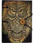 "Owl journal 4 1/2"" x 6 1/2"" handmade parchment"