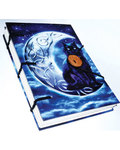 "Midnight Moon Cat journal 4 1/2"" x 6 1/2"" handmade parchment"