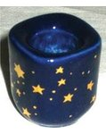 Cobalt Ceramic Starry Candle Holder