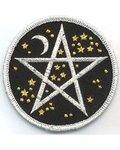 "Starry Pentagram Iron-On Patch 3"""