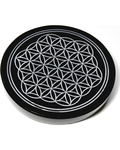 "4"" Obsidian, Black Flower of Life altar tile"