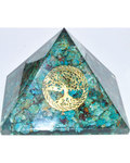 80mm Orgone Chrysocolla & Tree of Life pyramid
