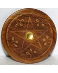 Wooden Pentagram Incense Burner