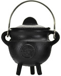 Pentagram Cast Iron Cauldron with Lid 2 3/4""