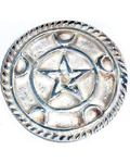 "3"" Silver Plated Brass Pentagram altar tile"