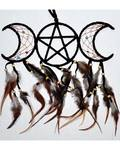 "3 1/2"" x 9"" Black Triple Moon dream catcher"