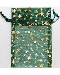 "2 3/4"" x 3"" Green Organza Bag with Gold Stars"