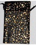 "4"" x 5"" Black Organza Bag with Gold Stars"