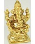 "Ganesh Sitting Brass 3"" Statue"